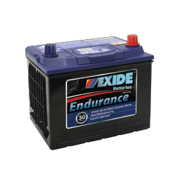 Black case, blue top, 52CMF Exide Endurance passenger vehicle battery