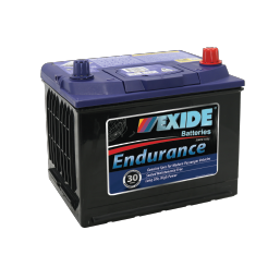 Black case, blue top, 54CMF Exide Endurance passenger vehicle battery