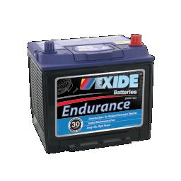 Black case, blue top, 55D23CMF Exide Endurance passenger car battery