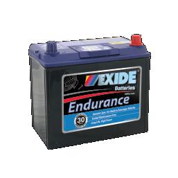 Black case, blue top, 60CMF Exide Endurance passenger car battery