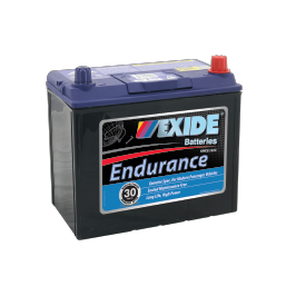 Black case, blue top, 60CMF Exide Endurance passenger car battery