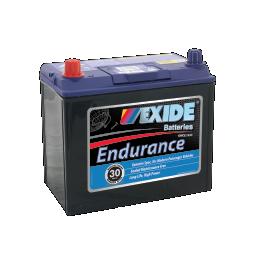Black case, blue top, 60DMF Exide Endurance passenger car battery