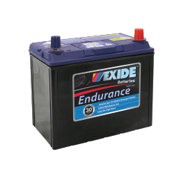 Black case, blue top, 60DPMF Exide Endurance passenger vehicle battery