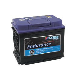 Black case, blue top, DIN55HMF Exide Endurance passenger car battery