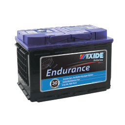 Black case, blue top, DIN66HMF Exide Endurance passenger car battery