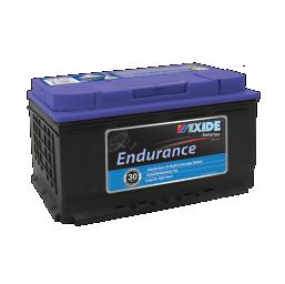 Black case, blue top, DIN77MF Exide Endurance passenger vehicle battery