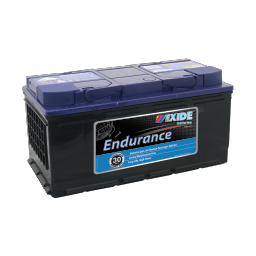Black case, blue top, DIN88MF Exide Endurance passenger vehicle battery