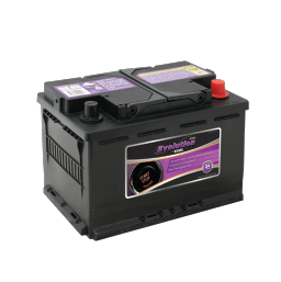 Black SSAGM 66EU Exide Evolution stop/start car battery with purple labels
