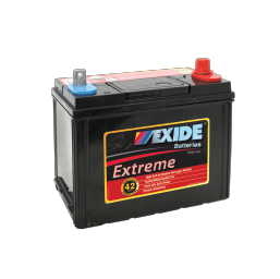 Black case, red top, X43MF Exide Extreme passenger car battery