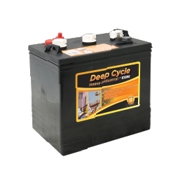 Black cased heavy industrial deep cycle battery, orange labels with the DC6V225 battery details, multiple terminal connectors and 3 white vent caps.