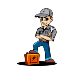 business logo of mobile mechanic man with spanner in one hand and standing with one foot on a vehicle battery