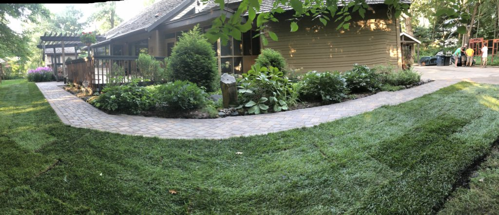 vpaver walkway and landscaping