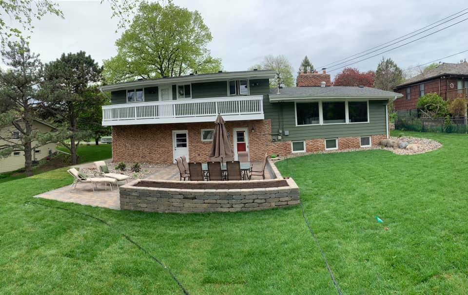 completed sod installation and patio project