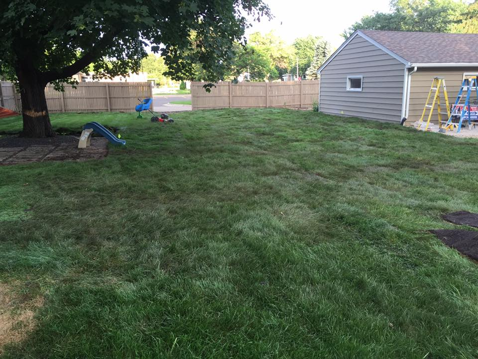 completed lawn drainage project in twin cities
