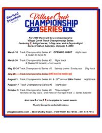 2019 VCMX Track Championship Schedule
