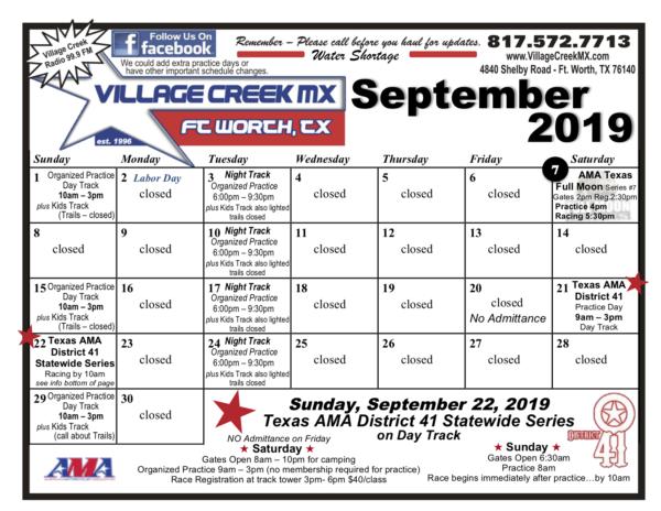 2019 Village Creek MX Dirt Bike Racing Event Calendar