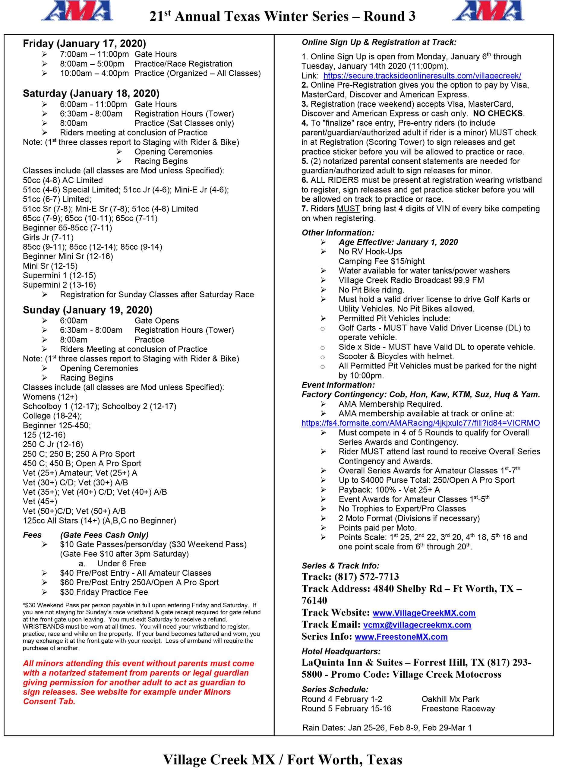 Texas Winter Series Round 3 Schedule