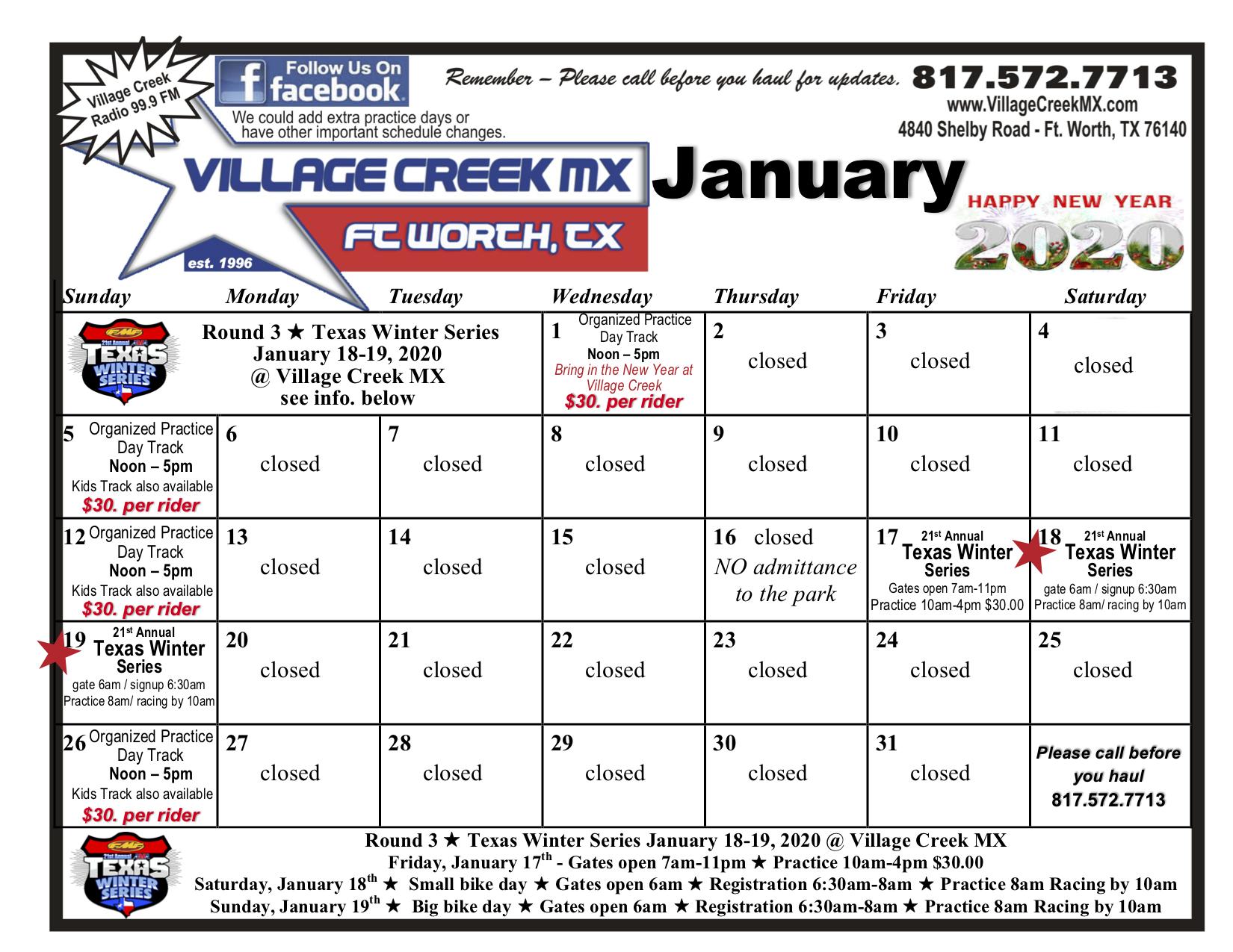 2020 Texas Motocross Events Calendar
