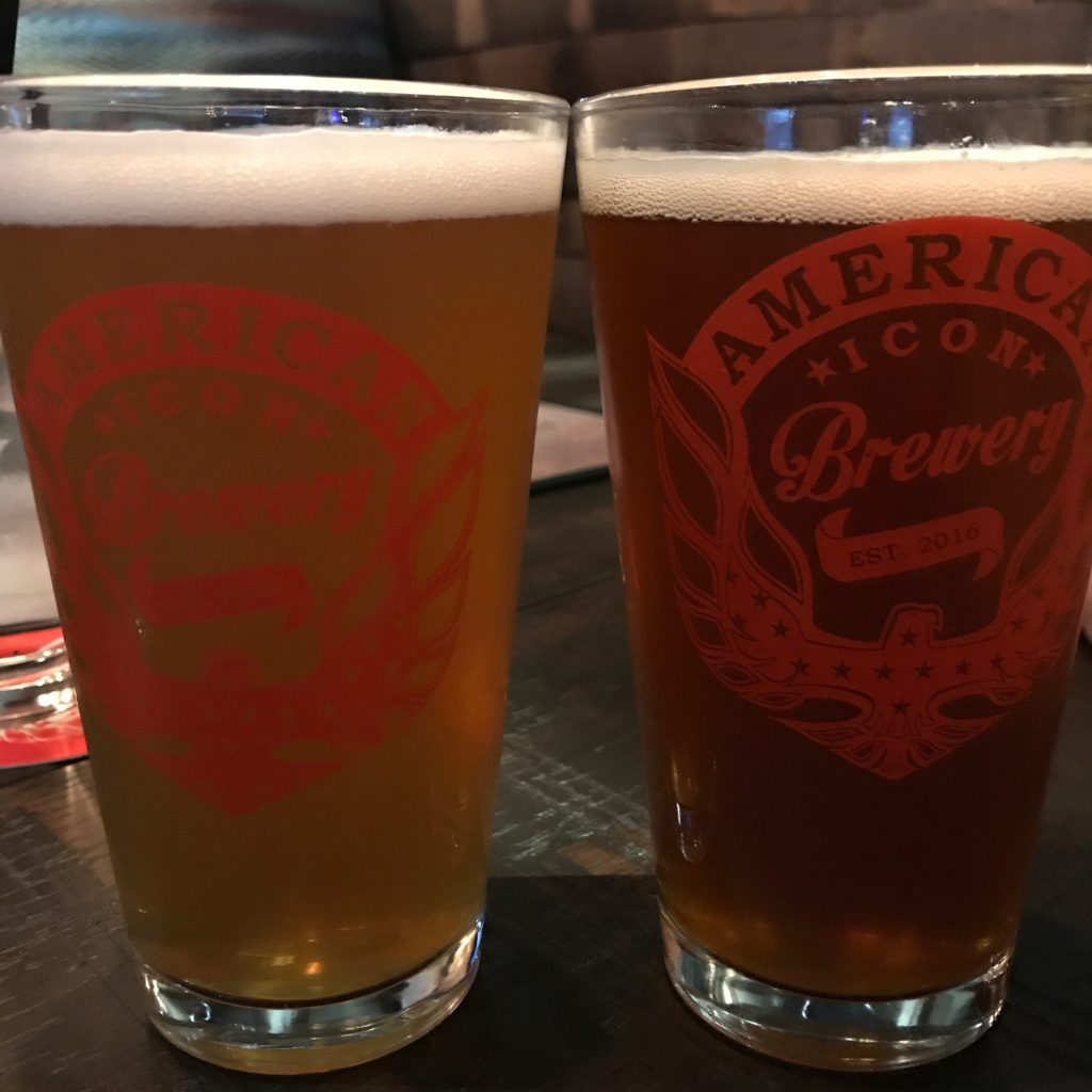 American Icon Brews in pint glasses