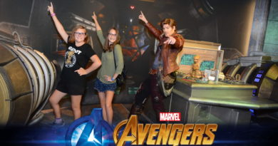 Two girls standing with Star Lord Guardians of the Galaxy