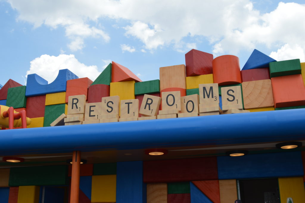 Scrabble restroom sign in Hollywood Studios