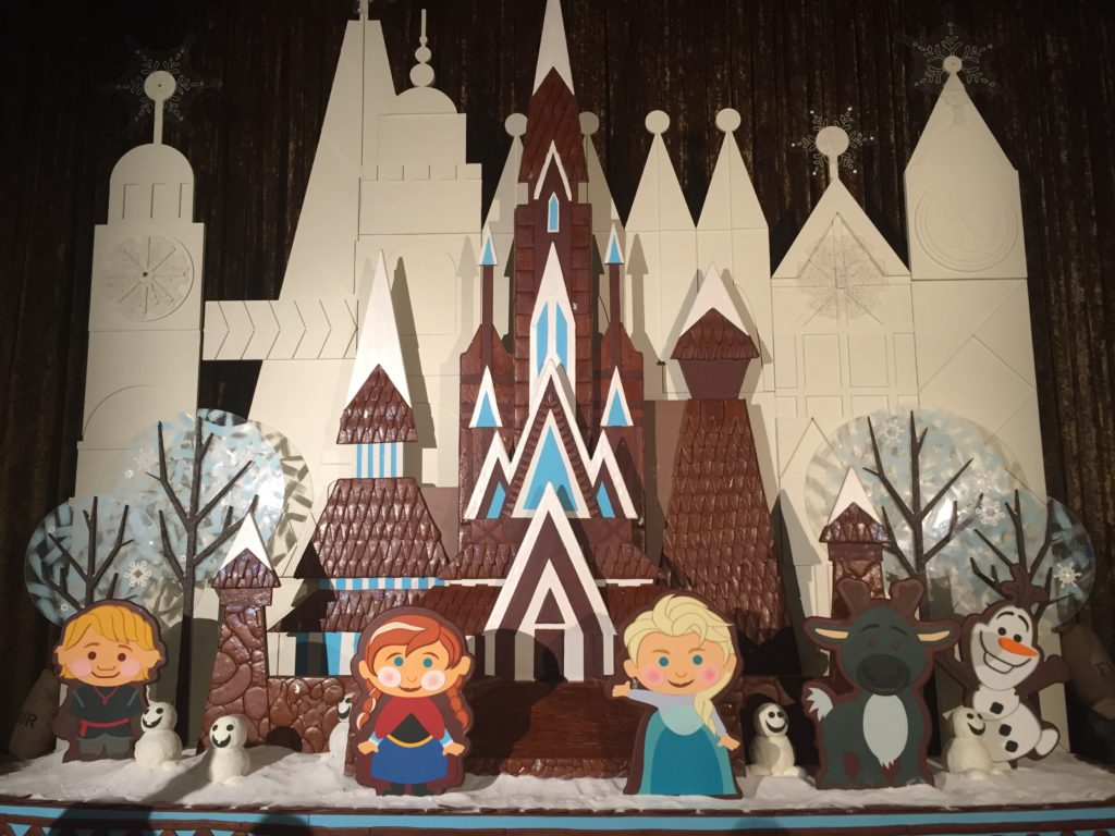 Anna and Elsa gingerbread castle at Disney's Contemporary Resort while Holiday hotel hopping