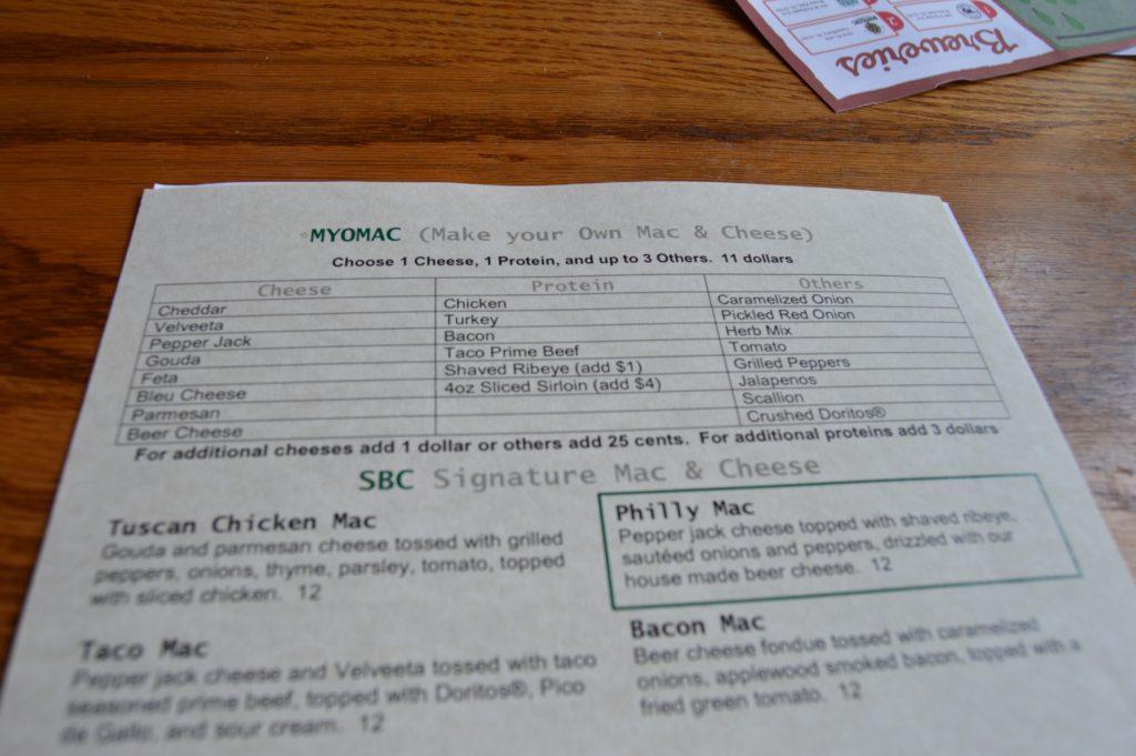 Sanford Brewing menu