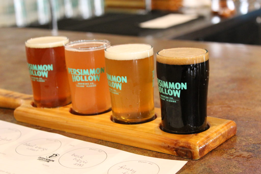 Flight of beer at Persimmon Hollow Brewing Company