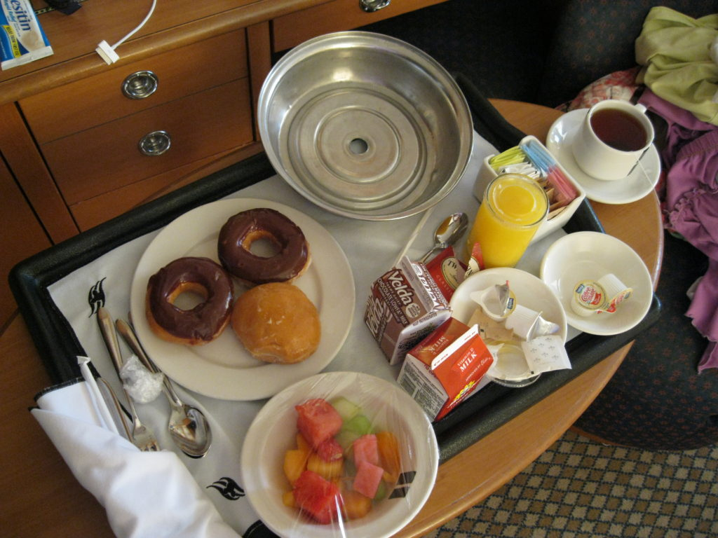 Tray of room service breakfast on Disney Cruise