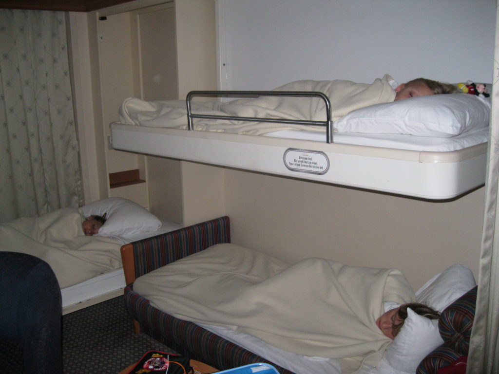 Kids sleeping in cruise ship room