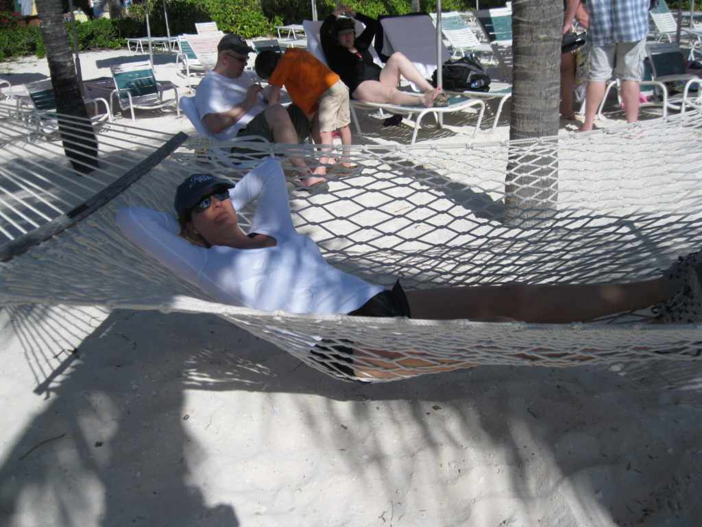 Woman in hammock on Castaway Cay