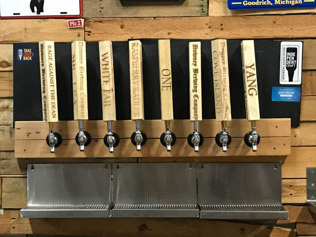 Tap handles at Downey Brewing Company Dearborn Michigan
