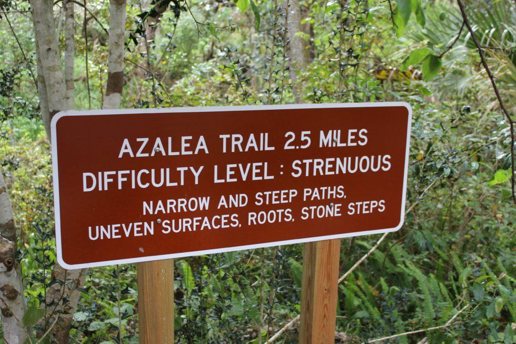 Azalea Trail sign at Ravine Gardens State Park