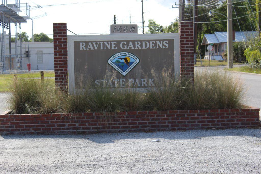 Ravine Gardens State Park Entrance sign