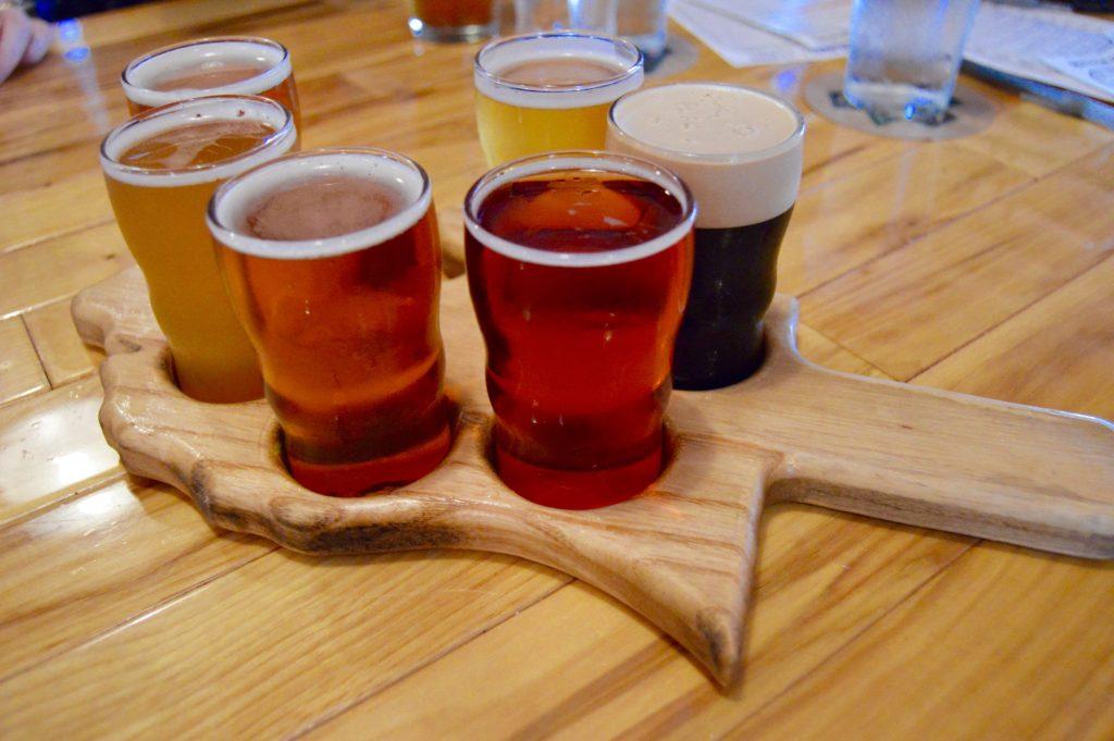 Flight of beer at Mitten Brewing in Grand Rapids, Michigan