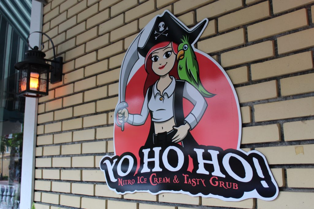 outdoor sign and logo for YoHoHo nitro ice cream & tasty grub
