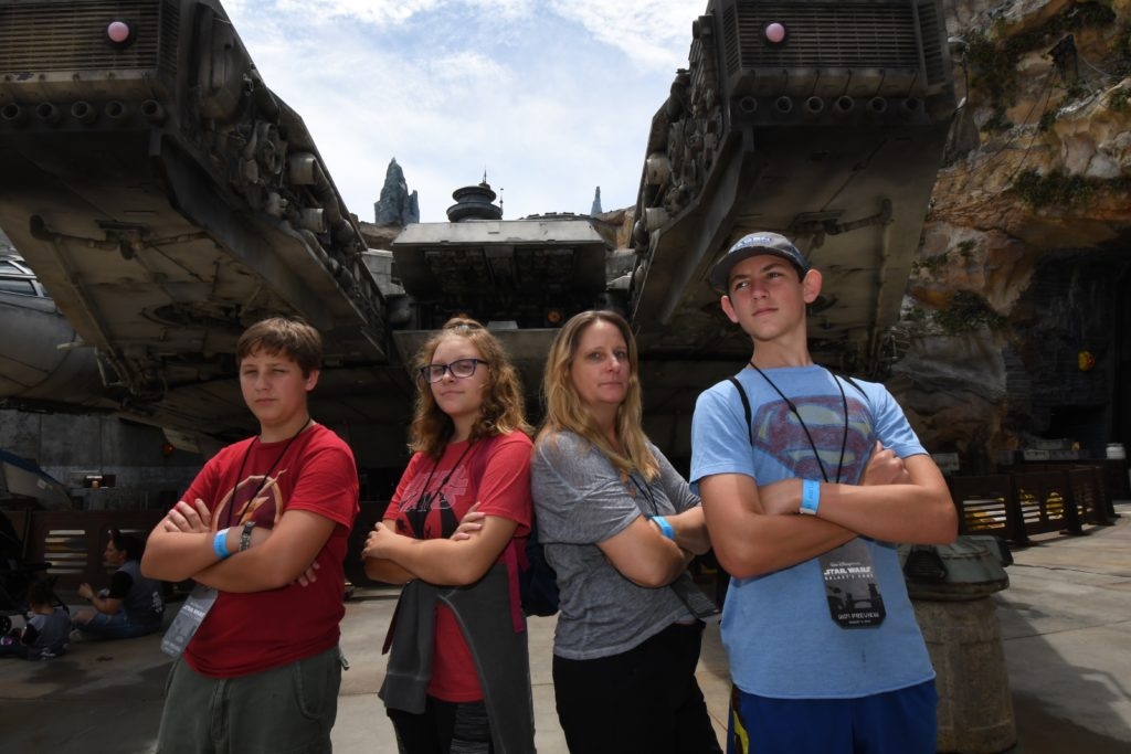 Photopass in front of Millennium Falcon