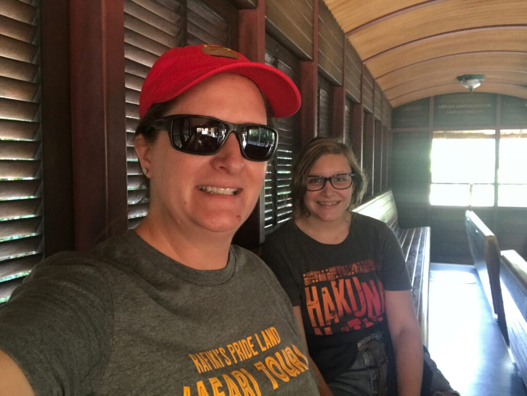 Mom and daughter on Rafiki's Planet train