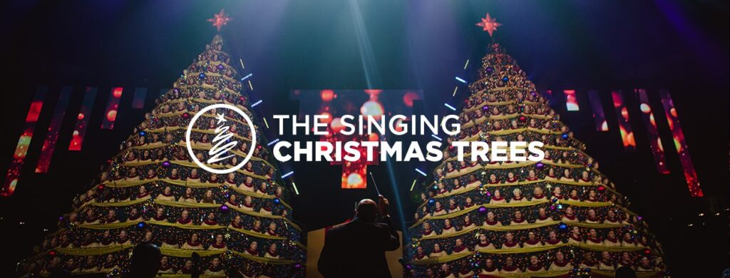 The singing Christmas trees graphic for Central Florida