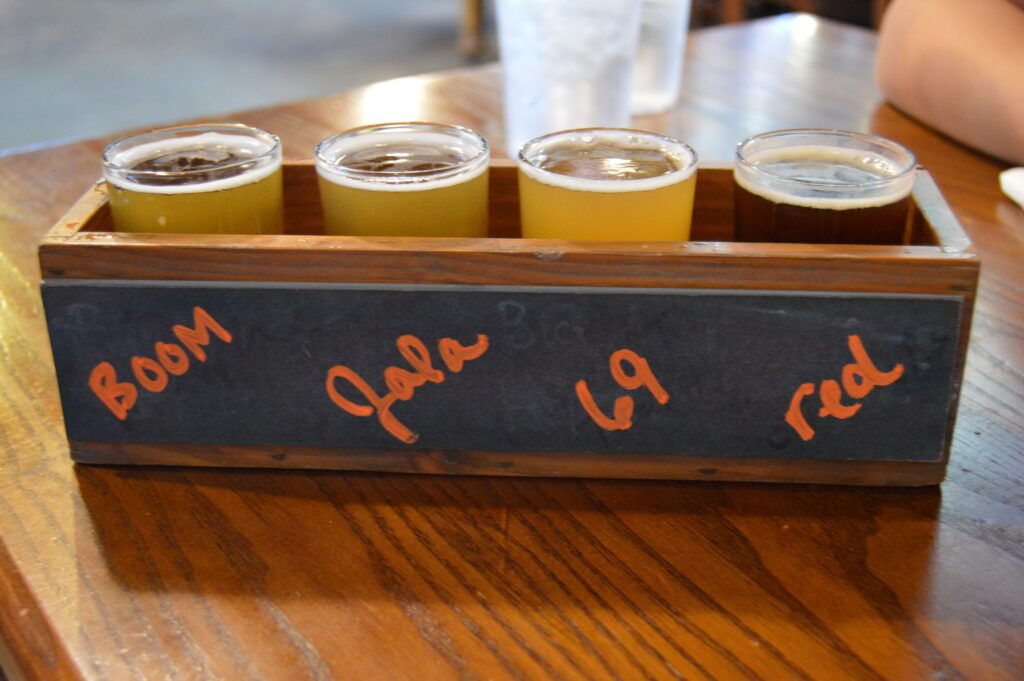 Beer Flight at Frankenmuth Brewery, America's oldest microbrewery