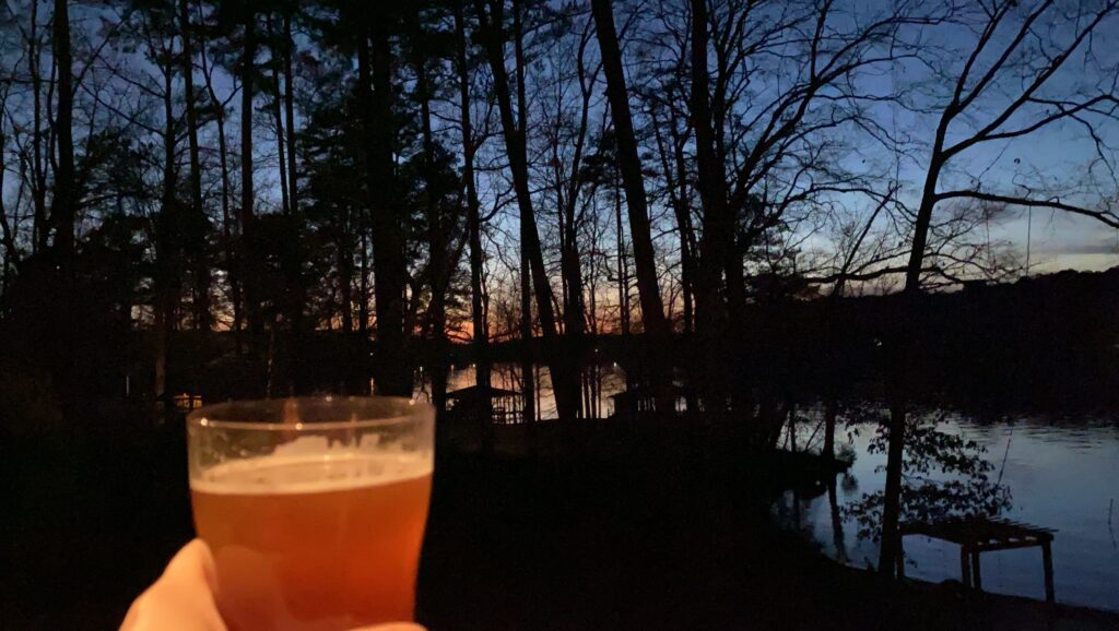 Cheers to the sunset on Lake Sinclair at Southern Water's Retreat