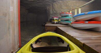 Kayak at dock cave kayaking Kentucky