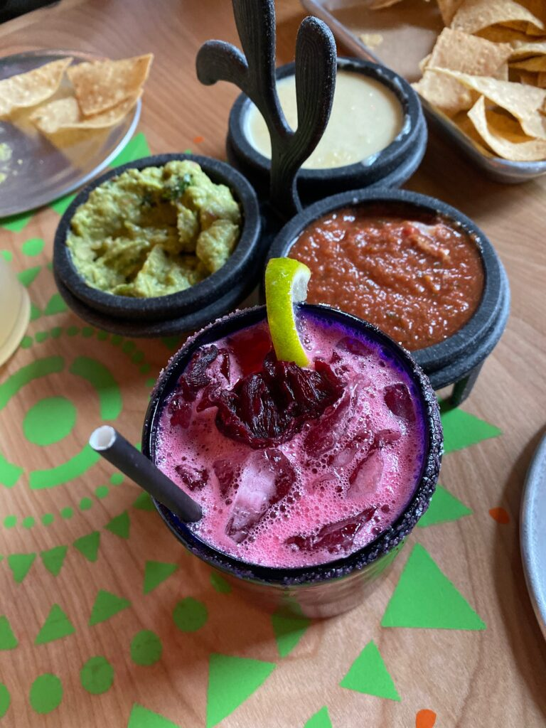 Chips & Trio with Hibiscus Cocktail at El Arbol