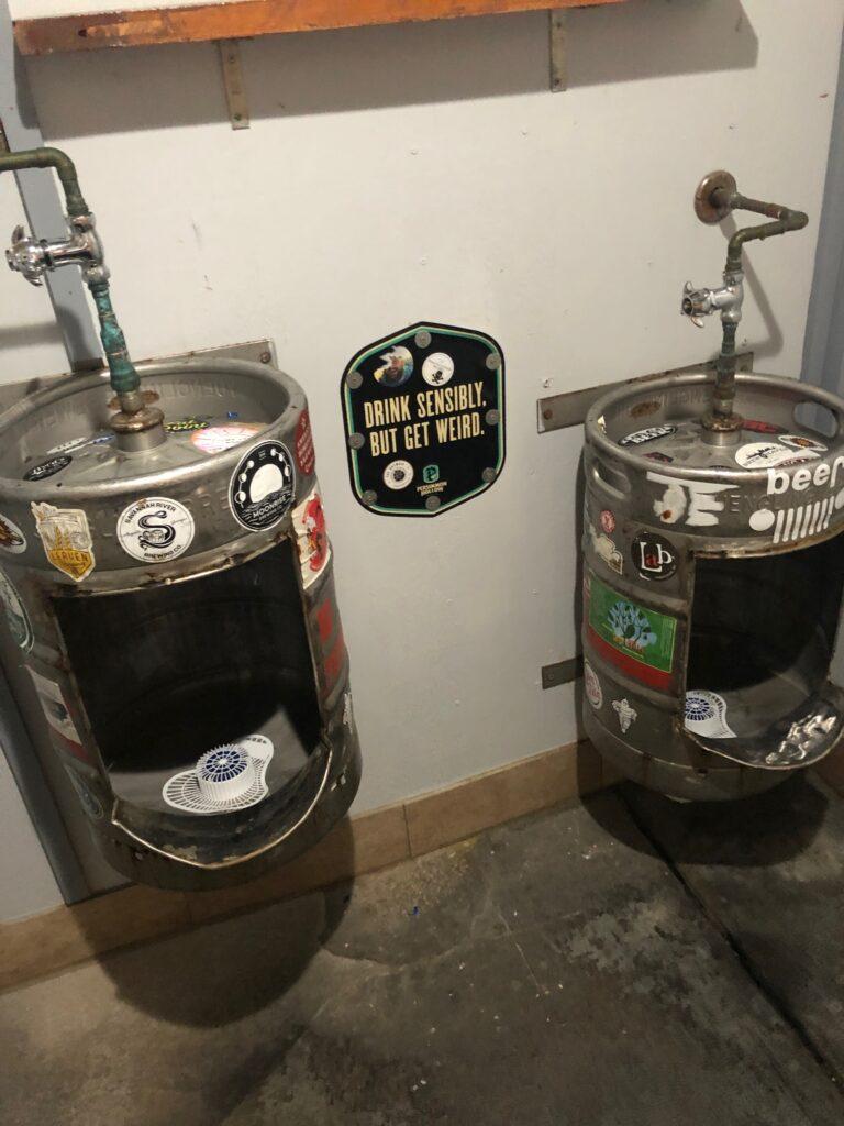 Keg urinals at Persimmon Hollow Brewing