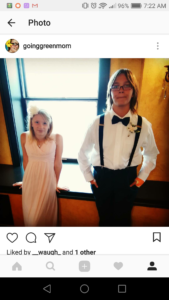 My daughter on the left in a blush dress from David's bridal with a flower headband, and my son on the right in blue dress pants, a white dress shirt, suspenders, and a bow tie