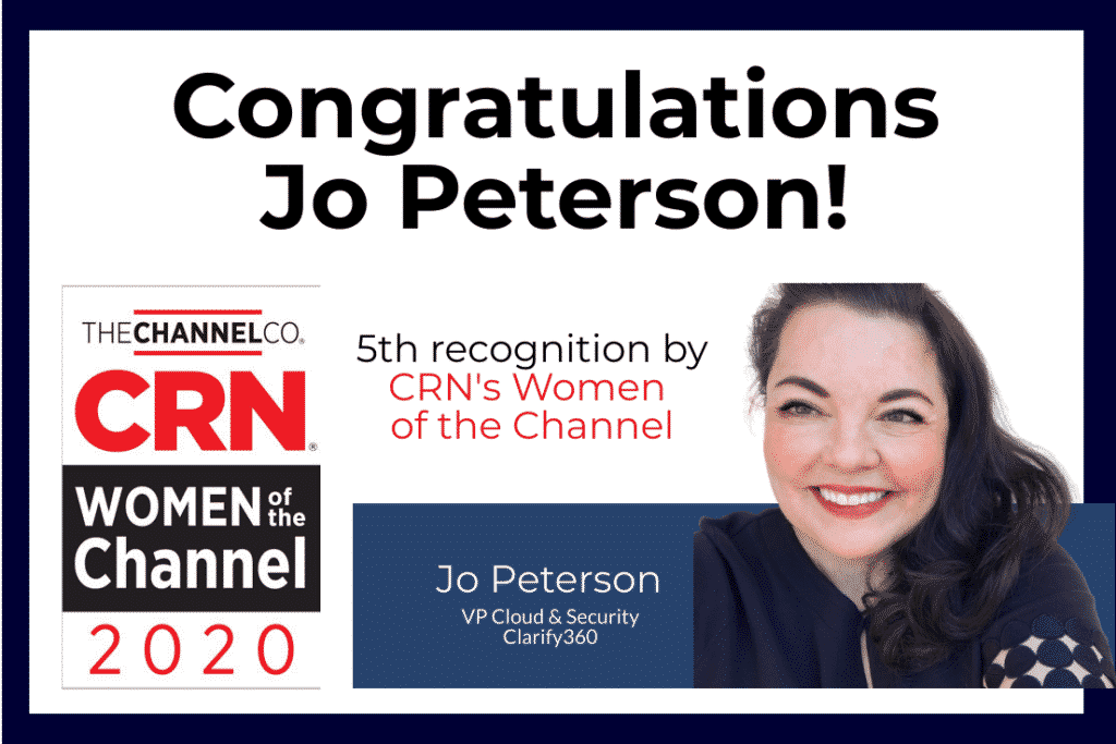 jo peterson recognized 2020 women of the channel by CRN