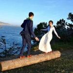 balancing bride and groom at Warner Point