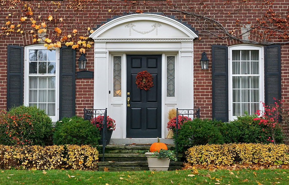 Front door of home in the fall