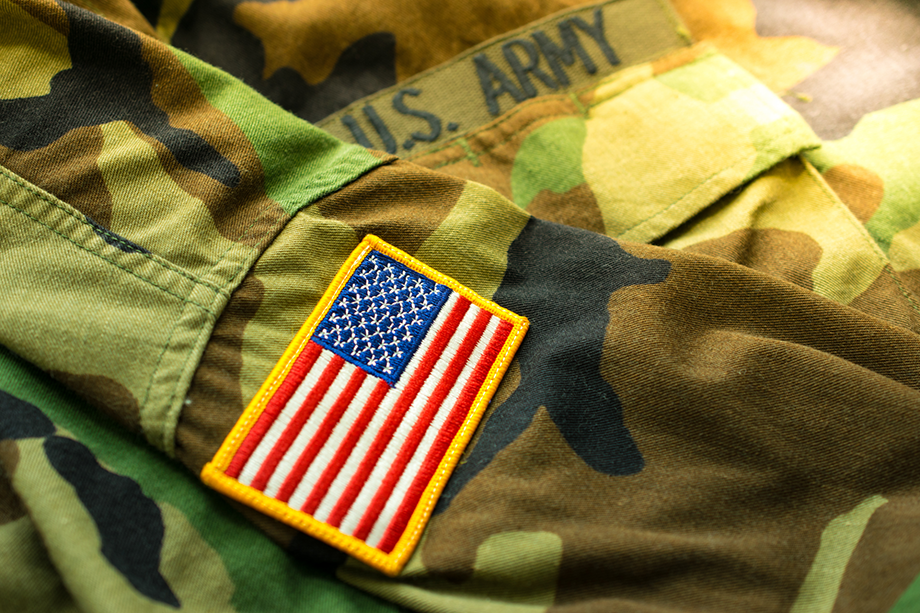 Veteran military outfit with american flag