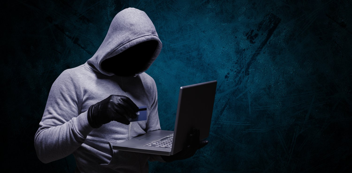 Cyber thief hacking a computer